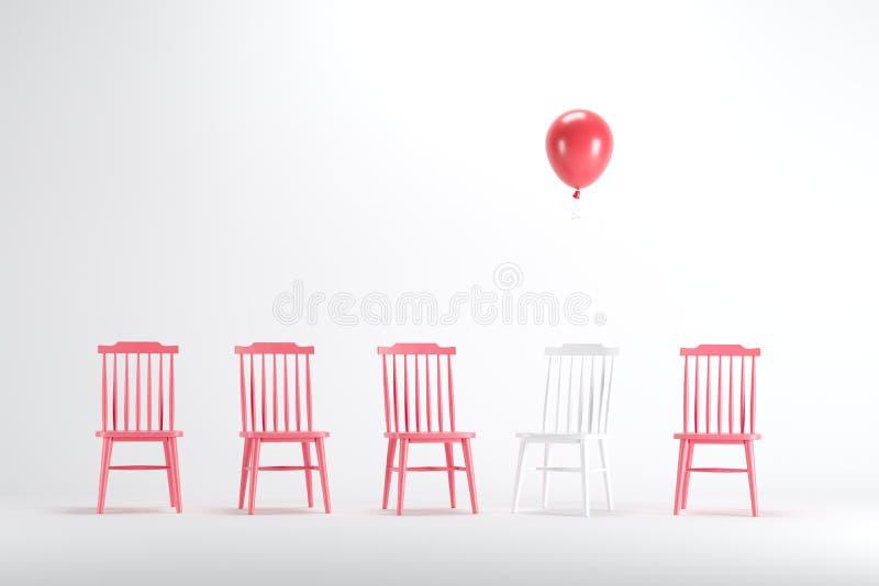 Chaise blanche avec flotter le ballon rouge parmi la chaise blanche sur le fond blanc illustration stock