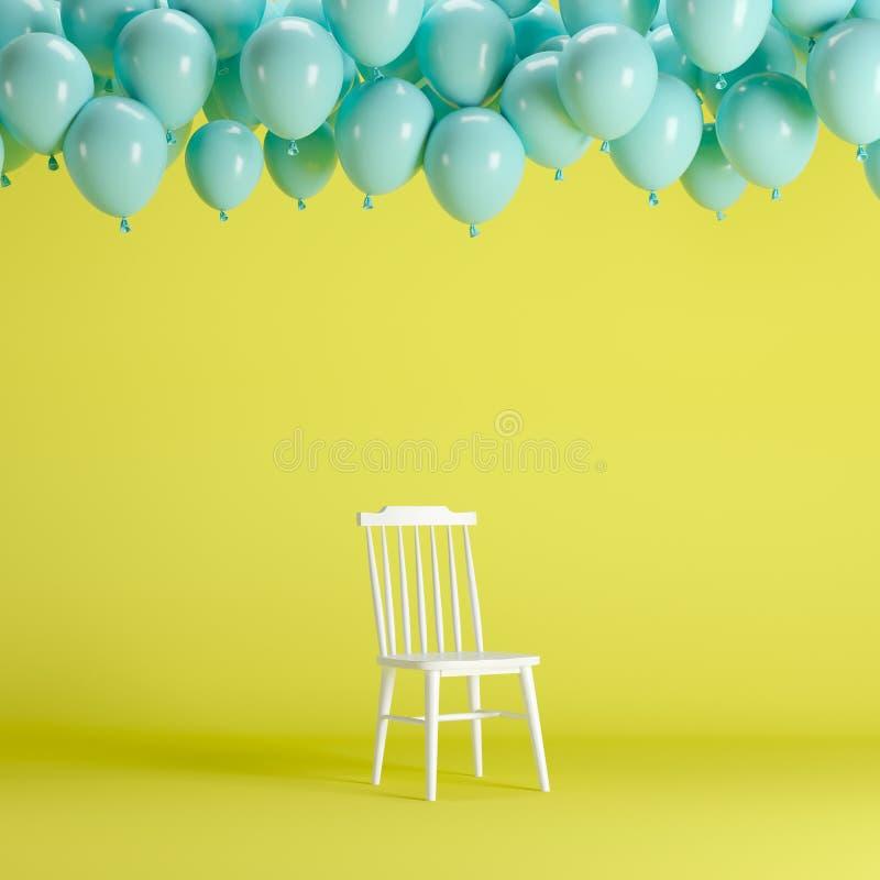 Chaise blanche avec flotter les ballons bleus dans le studio jaune de pièce de fond illustration stock