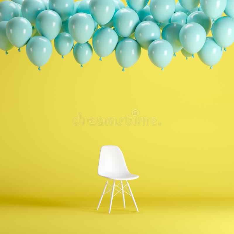 Chaise blanche avec flotter les ballons bleus dans le studio jaune de pièce de fond illustration de vecteur
