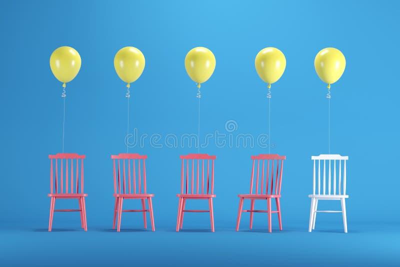Chaise blanche avec flotter les ballons jaunes parmi les chaises rouges sur le fond bleu illustration libre de droits