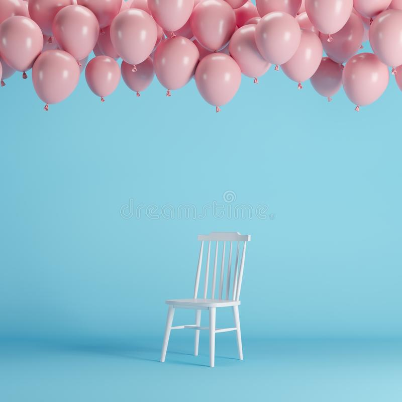 Chaise blanche avec flotter les ballons roses dans le studio bleu de pièce de fond illustration libre de droits