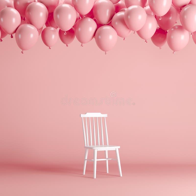 Chaise blanche avec flotter les ballons roses dans le studio rose de pièce de fond illustration stock