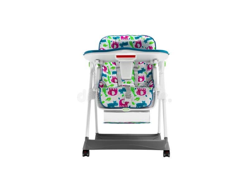 Chaise blanche avec la literie molle avec la table pour alimenter l'enfant 3d pour ne rendre sur le fond blanc aucune ombre illustration de vecteur