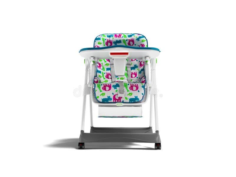 Chaise blanche avec la literie molle avec la table pour alimenter l'enfant 3d pour rendre sur le fond blanc avec l'ombre illustration stock
