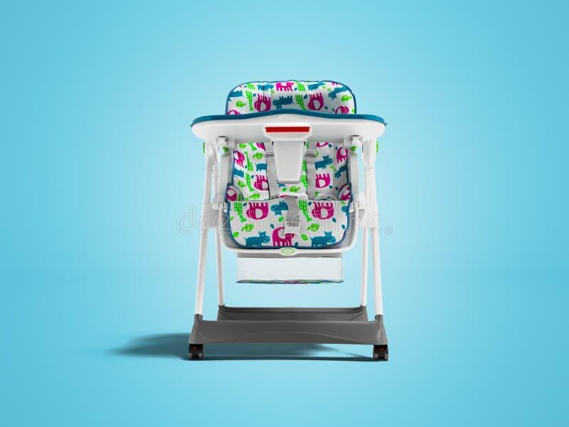 Chaise blanche avec la literie molle avec la table pour alimenter l'enfant 3d pour rendre sur le fond bleu avec l'ombre illustration de vecteur