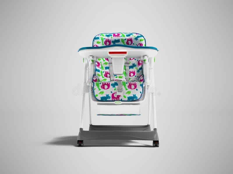 Chaise blanche avec la literie molle avec la table pour alimenter l'enfant 3d pour rendre sur le fond gris avec l'ombre illustration libre de droits
