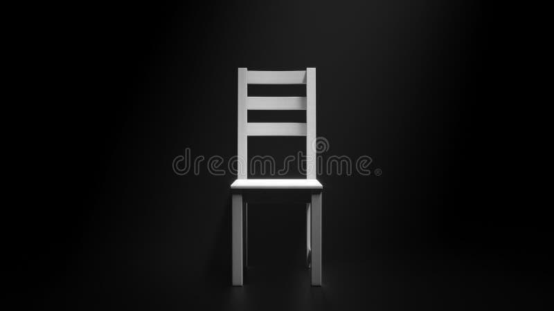 Chaise blanche en bois vide dans le faisceau de lumière sur le fond noir Illustration 3D minimale photographie stock