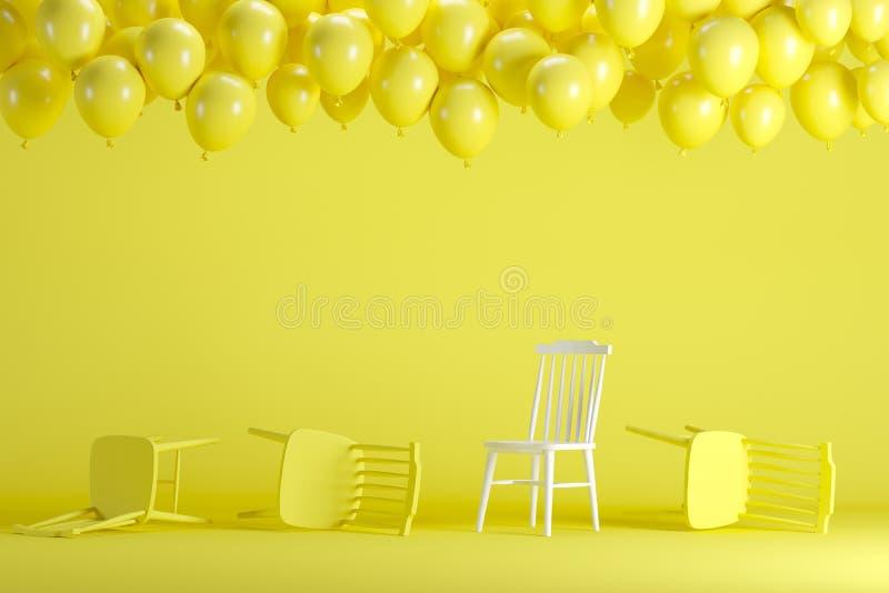 Chaise blanche exceptionnelle avec flotter les ballons jaunes dans le studio en pastel jaune de pièce de fond illustration libre de droits