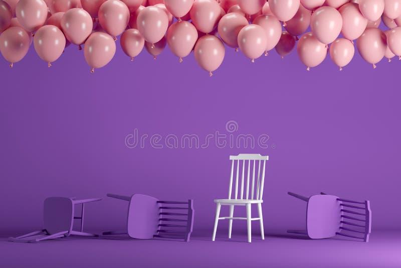 Chaise blanche exceptionnelle avec flotter les ballons roses dans le studio en pastel violet de pièce de fond illustration de vecteur