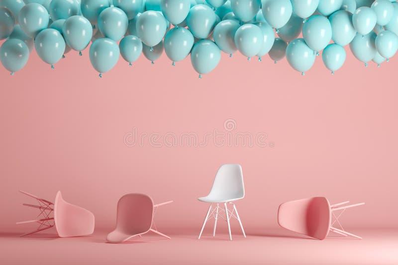 Chaise blanche exceptionnelle parmi les chaises roses avec flotter les ballons bleus dans le studio en pastel rose de pièce de fo illustration stock