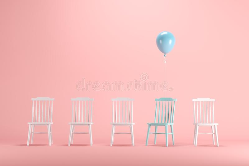 Chaise bleue avec flotter le ballon bleu parmi la chaise blanche sur le fond rose en pastel illustration stock