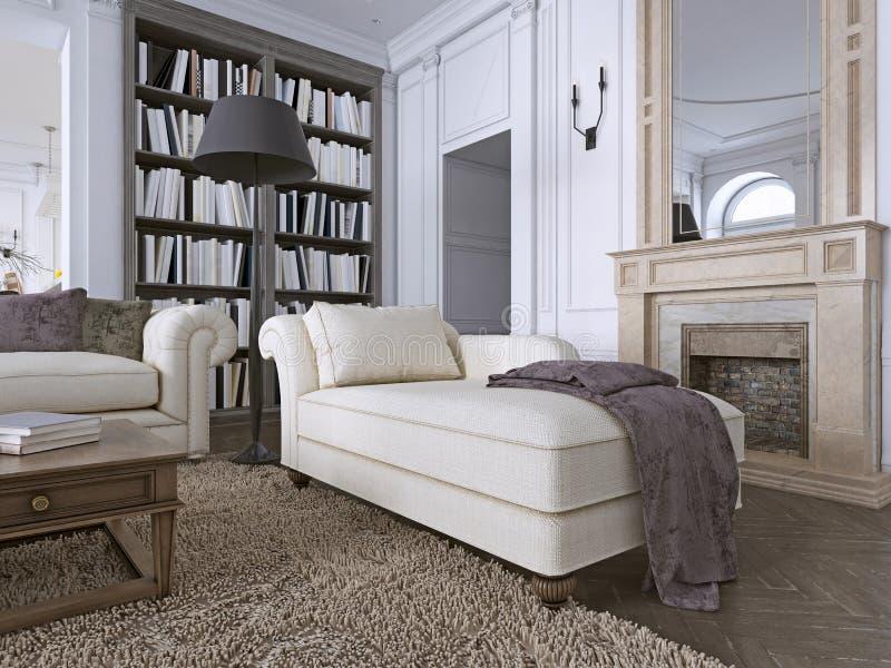 Chaise Chair i klassisk vardagsrum med arkivet stock illustrationer