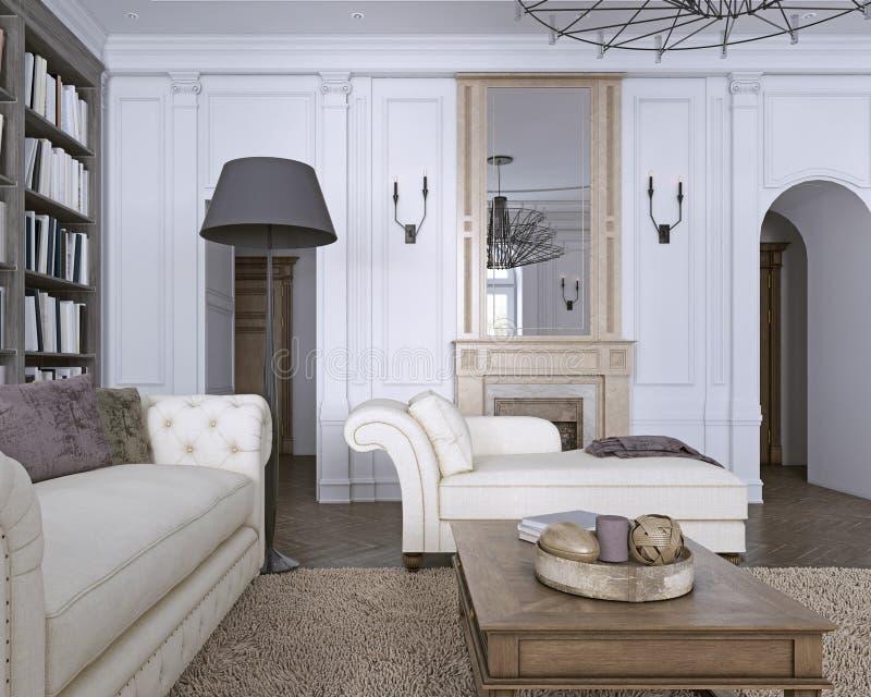 Chaise Chair i klassisk vardagsrum med arkivet vektor illustrationer