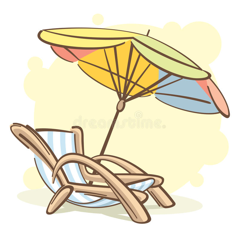 Chaise -chaise-longue en parasol vector illustratie