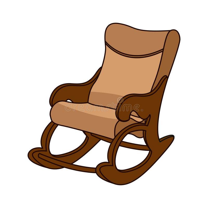 Chaise de basculage dans le style minimal, chaise commode et confortable tapissée avec le cuir beige illustration stock