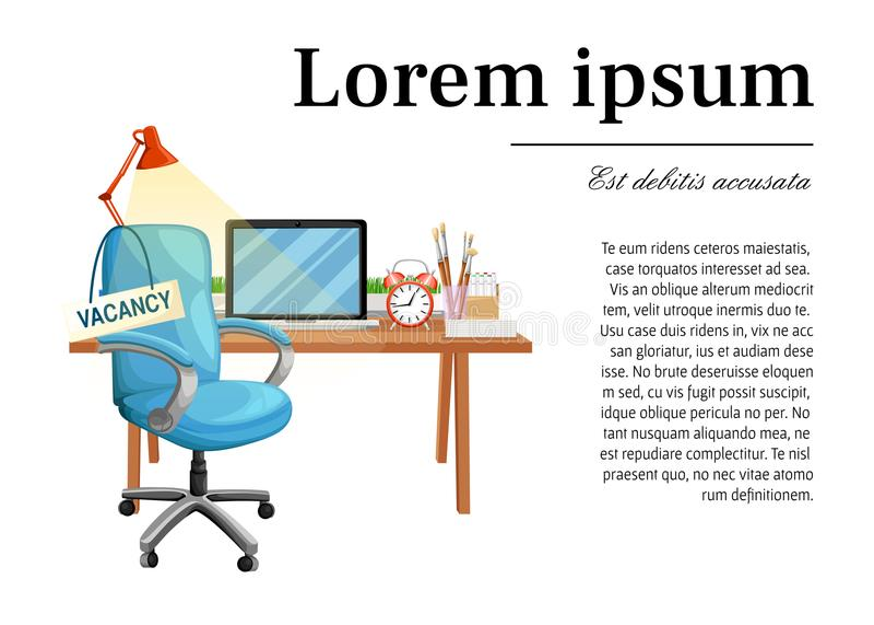 Chaise de bureau avec le lieu de travail de siège vide de signe d'offre d'emploi pour la location et l'icône vide IL d'affaires d illustration de vecteur