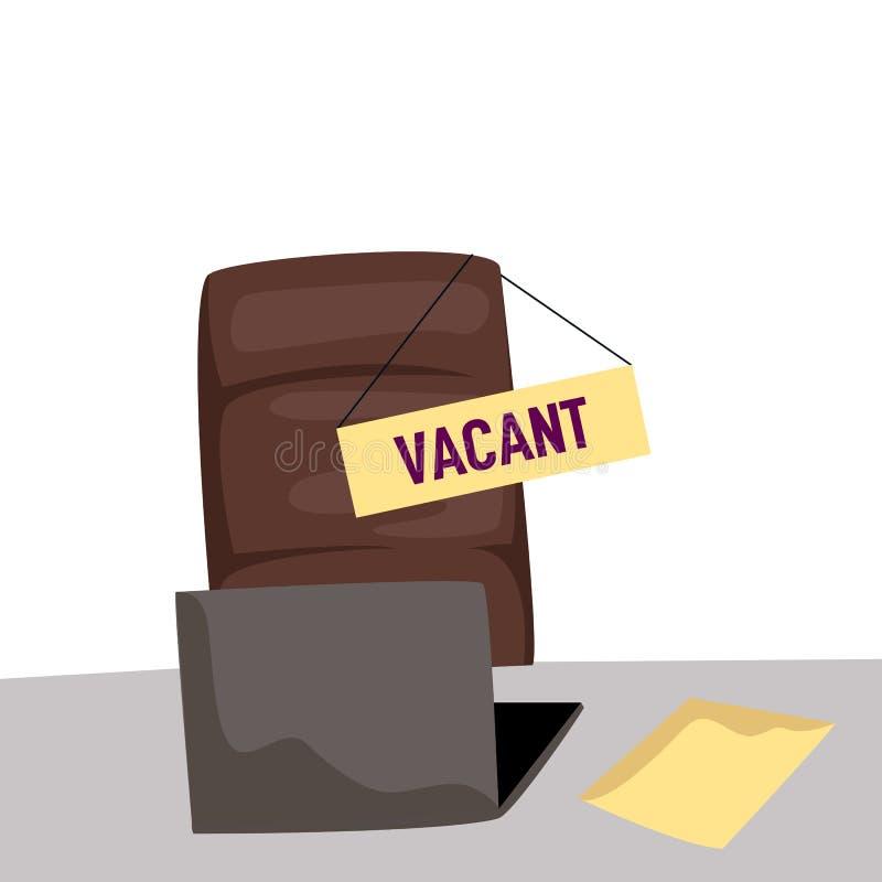 Chaise de bureau et un signe vide illustration de vecteur