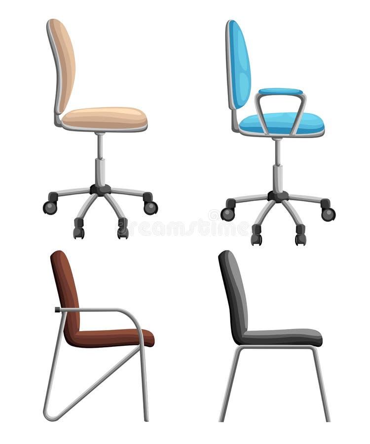 Chaise de bureau ou de bureau dans divers points de vue Fauteuil ou selles dans l'avant, dos, angles latéraux Ico plat de meubles illustration libre de droits