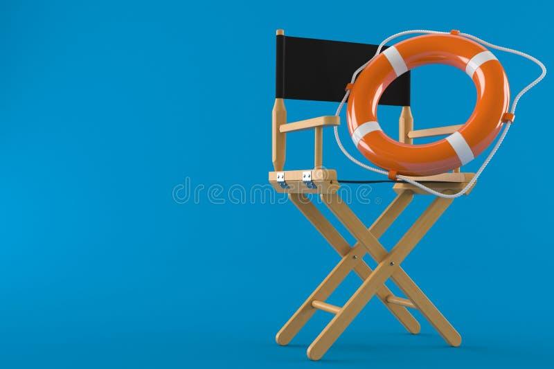 Chaise de cinéaste avec la balise de vie illustration stock