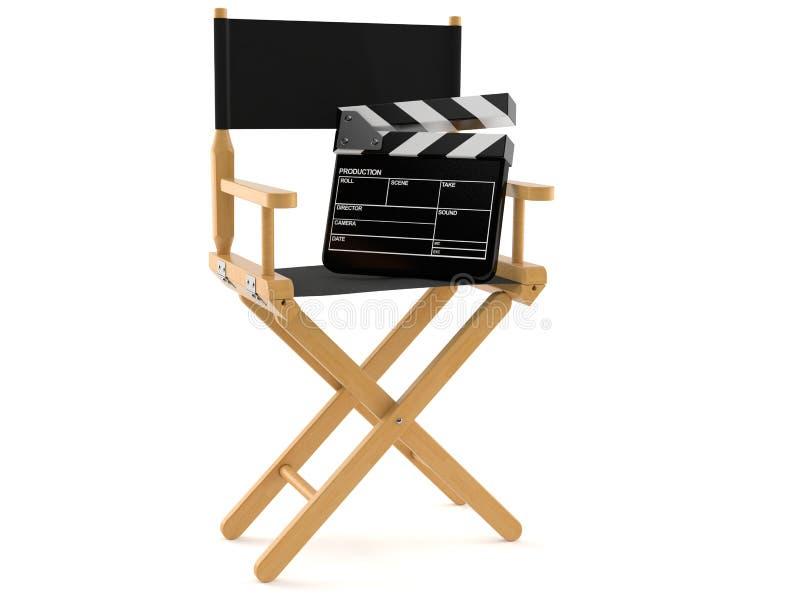 Chaise de cinéaste avec le conseil d'applaudissements illustration libre de droits