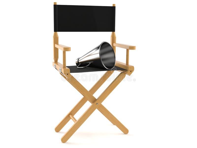 Chaise de cinéaste avec le mégaphone illustration libre de droits
