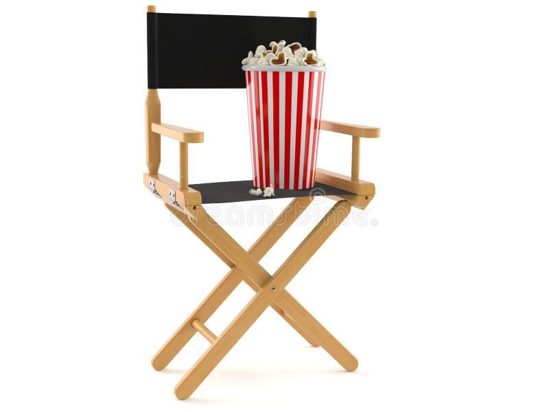 Chaise de cinéaste avec le maïs éclaté illustration de vecteur