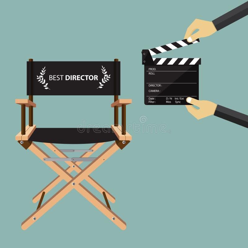 Chaise de directeur dans la conception plate avec la claquette de film Vecteur illustration de vecteur