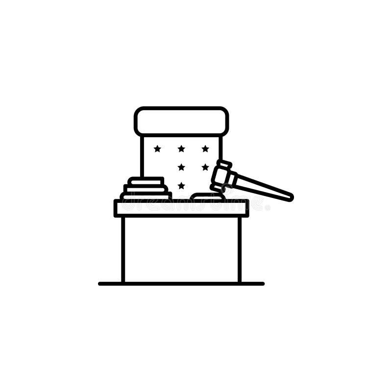 Chaise de juge, icône de marteau Élément d'icône de loi et de justice Ligne mince icône pour la conception de site Web et le déve illustration de vecteur