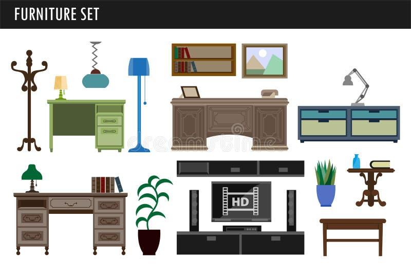 Chaise de meubles de maison et de bureau, bureau de table et icônes intérieures de vecteur de tiroir illustration stock