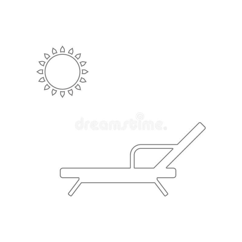 Chaise de plage avec l'ic?ne du soleil ?l?ment de Web pour le concept et l'ic?ne mobiles d'applis de Web Contour, ligne mince ic? illustration de vecteur