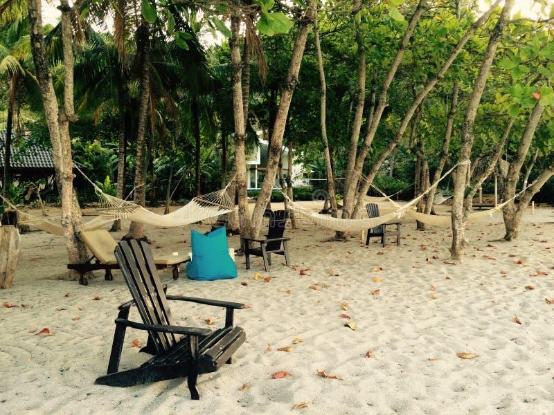 Chaise de plage et hamacs Costa Rica images stock