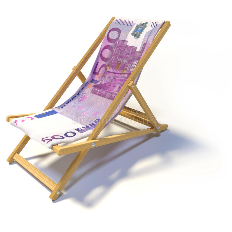Chaise de plage se pliante avec l'euro 500 photo stock