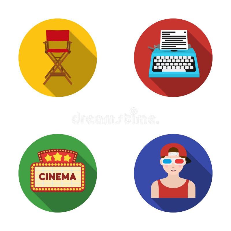 Chaise du directeur, machine à écrire, enseigne cinématographique, film-homme Films et icônes réglées de collection de cinéma dan illustration de vecteur