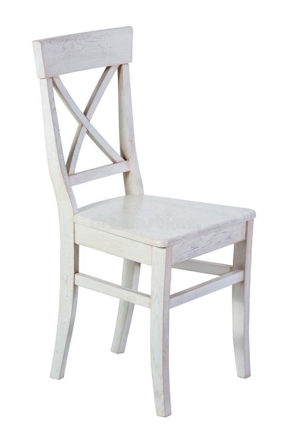 Chaise en bois blanche d'isolement images libres de droits