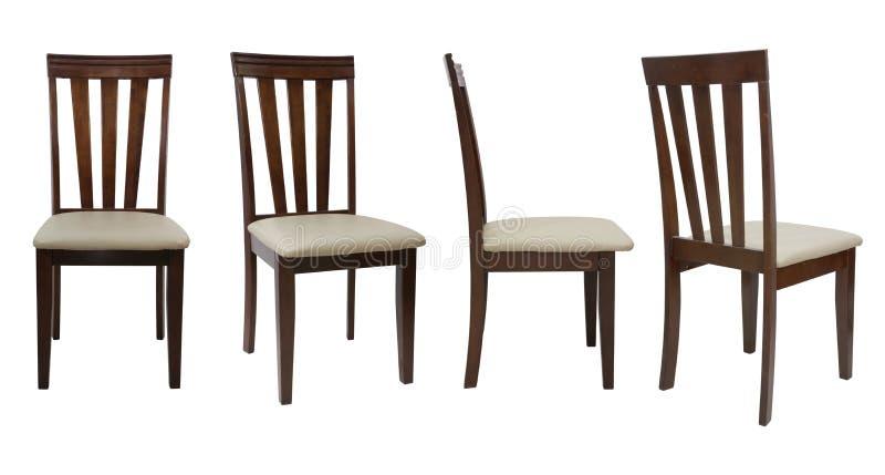 chaise en bois de 4 angles d'isolement sur le fond blanc photographie stock