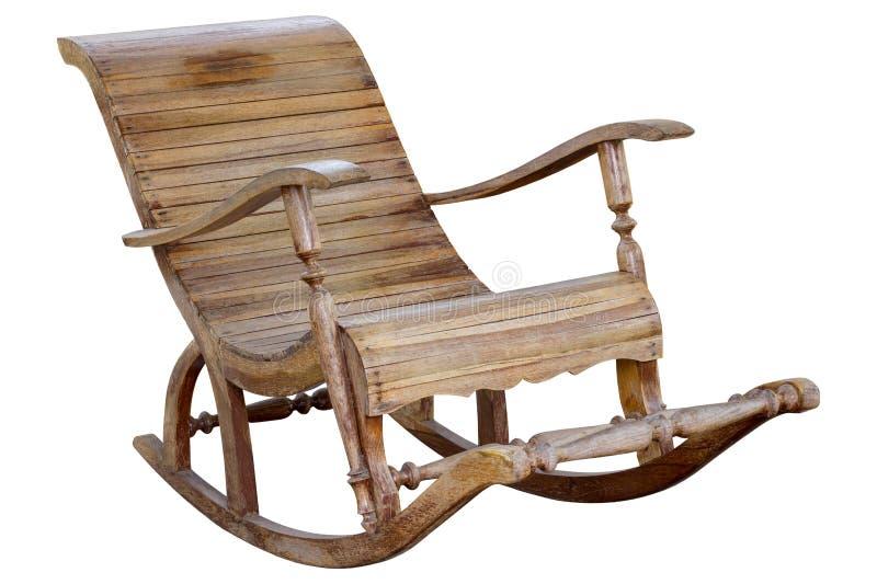 Chaise en bois de basculage d'isolement sur le fond blanc photographie stock libre de droits