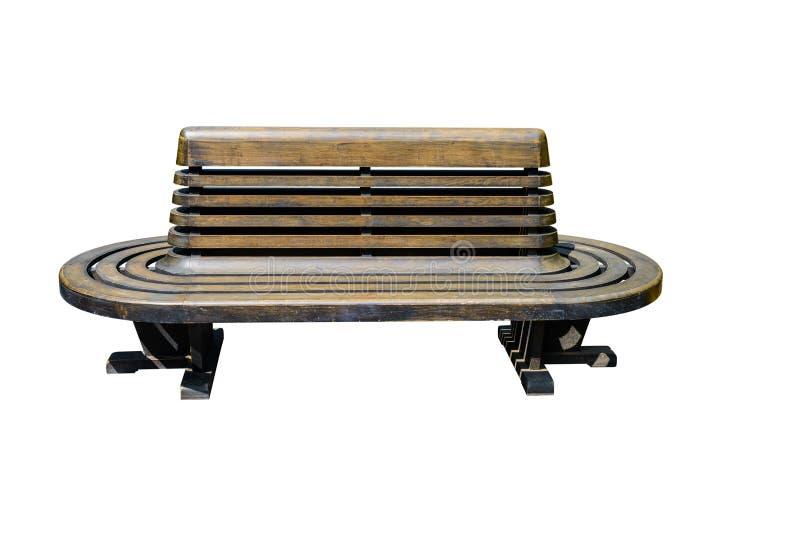 Chaise en bois de gare ferroviaire d'isolement sur le fond blanc photographie stock libre de droits