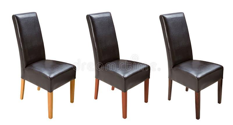 Chaise en cuir de cuisine en bois d'isolement sur le fond blanc images libres de droits