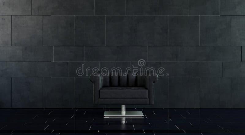 Chaise en cuir moderne de bras dans la chambre avec les tuiles noires illustration de vecteur