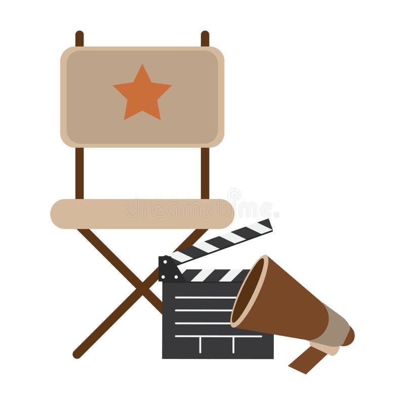 Chaise et bardeau de directeurs de cinéma illustration de vecteur