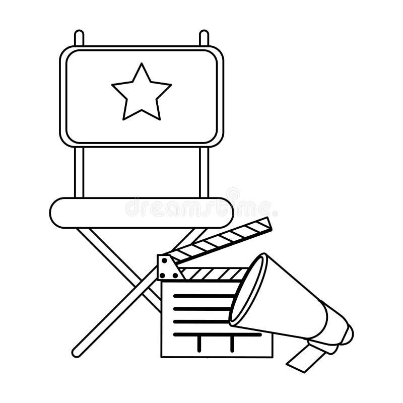 Chaise et bardeau de directeurs de cinéma noirs et blancs illustration libre de droits
