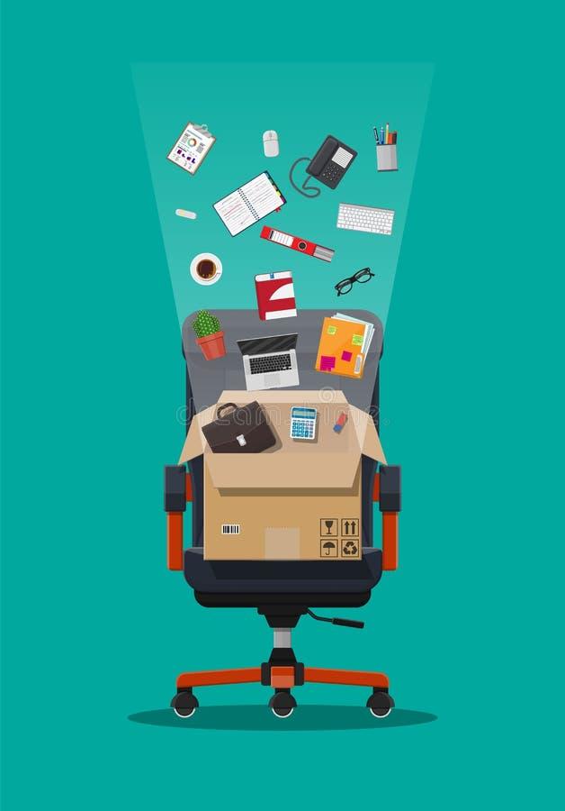 Chaise et boîte de bureau avec des articles de bureau illustration libre de droits