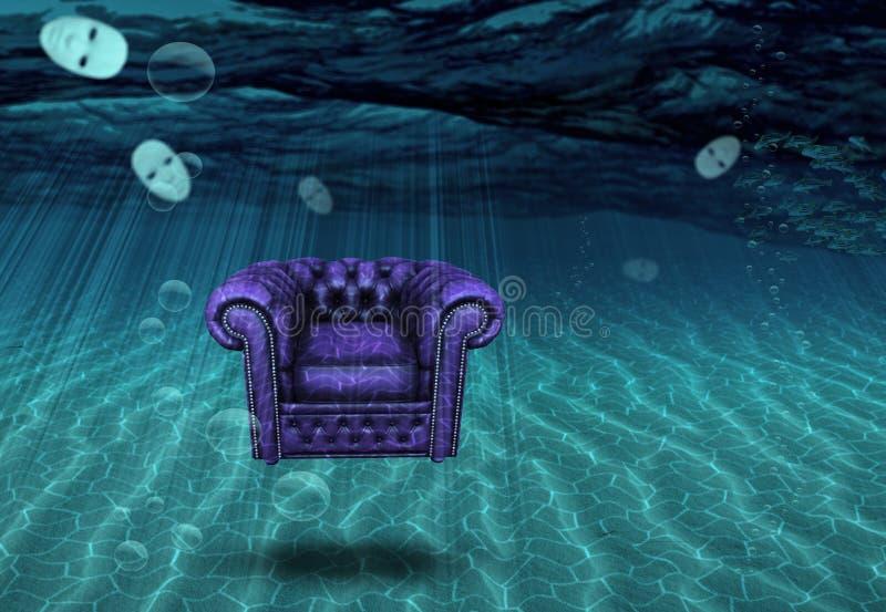 Chaise et masques submergés de flottement illustration stock