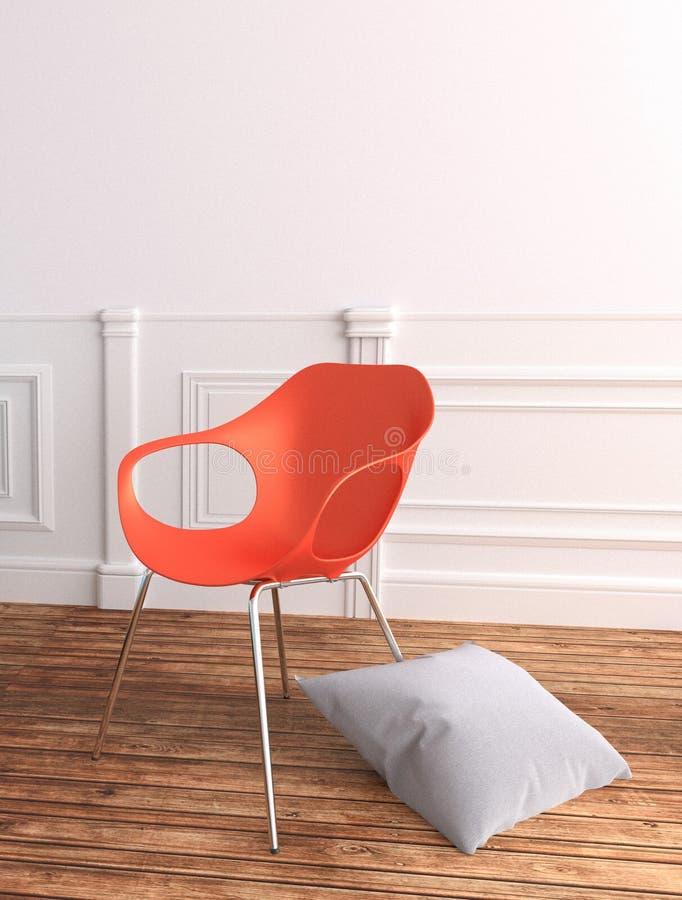 Chaise et oreiller en plastique rouges sur un fond d'un mur blanc rendu 3d illustration de vecteur