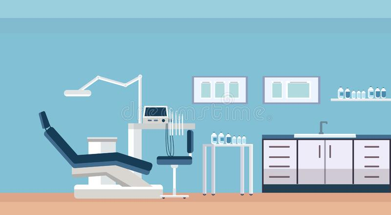 Chaise et outils professionnels pièce ou armoire dentaire de dentiste pour l'intérieur moderne de bureau de clinique de soin de d illustration de vecteur