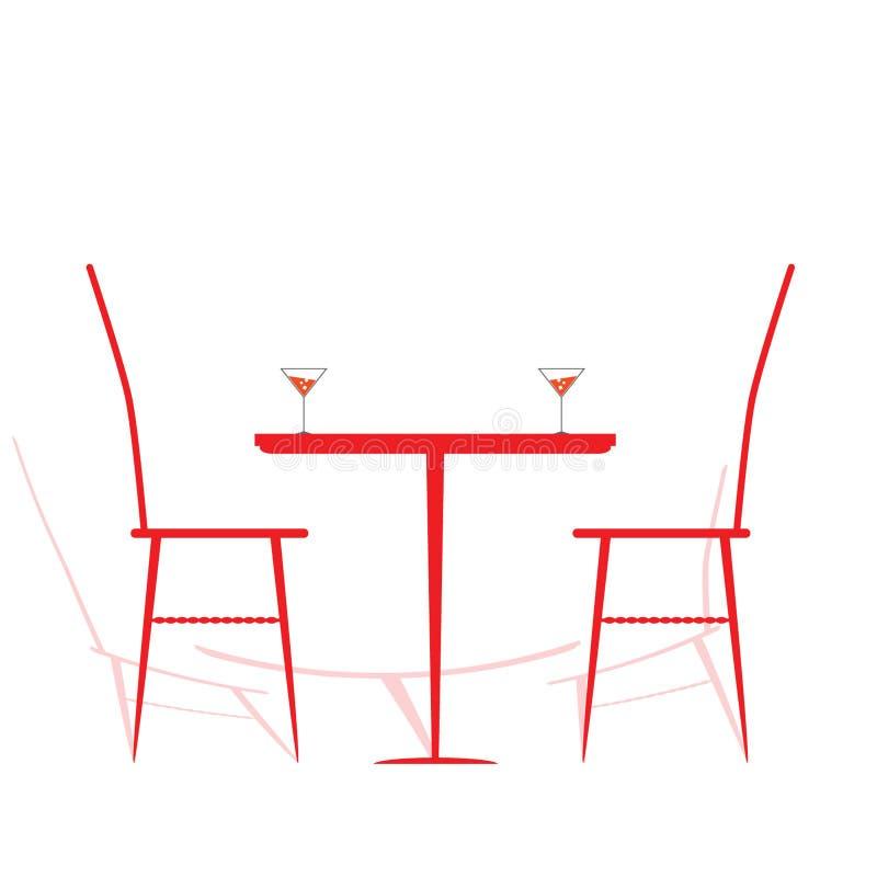 Chaise et table avec du vin là-dessus vecteur illustration libre de droits