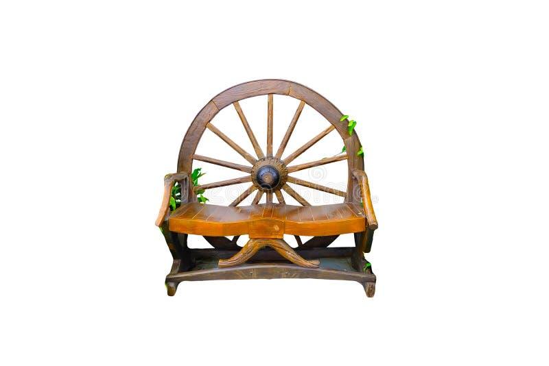 Chaise faite de bois sur un fond blanc photo libre de droits