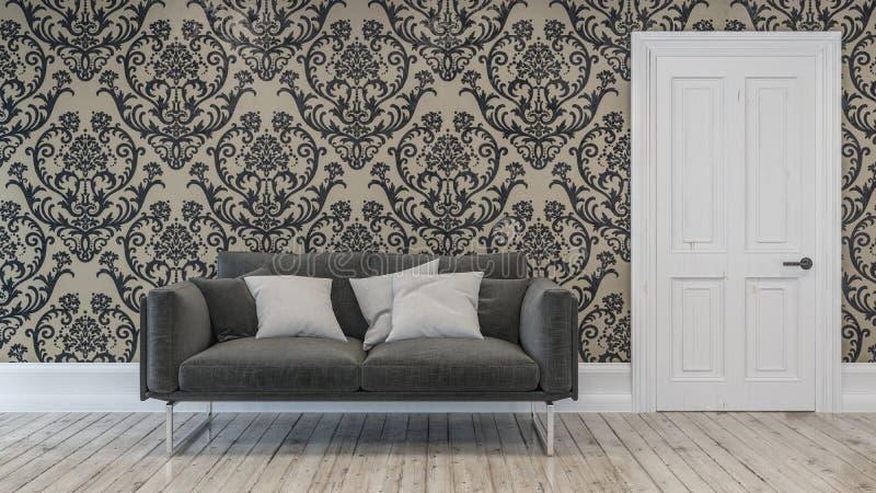 Chaise gris-foncé de sofa avec trois oreillers dans la chambre illustration de vecteur