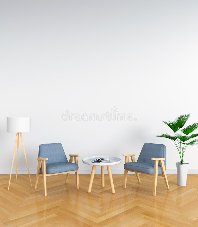 Chaise grise dans le salon blanc pour la maquette, rendu 3D images stock
