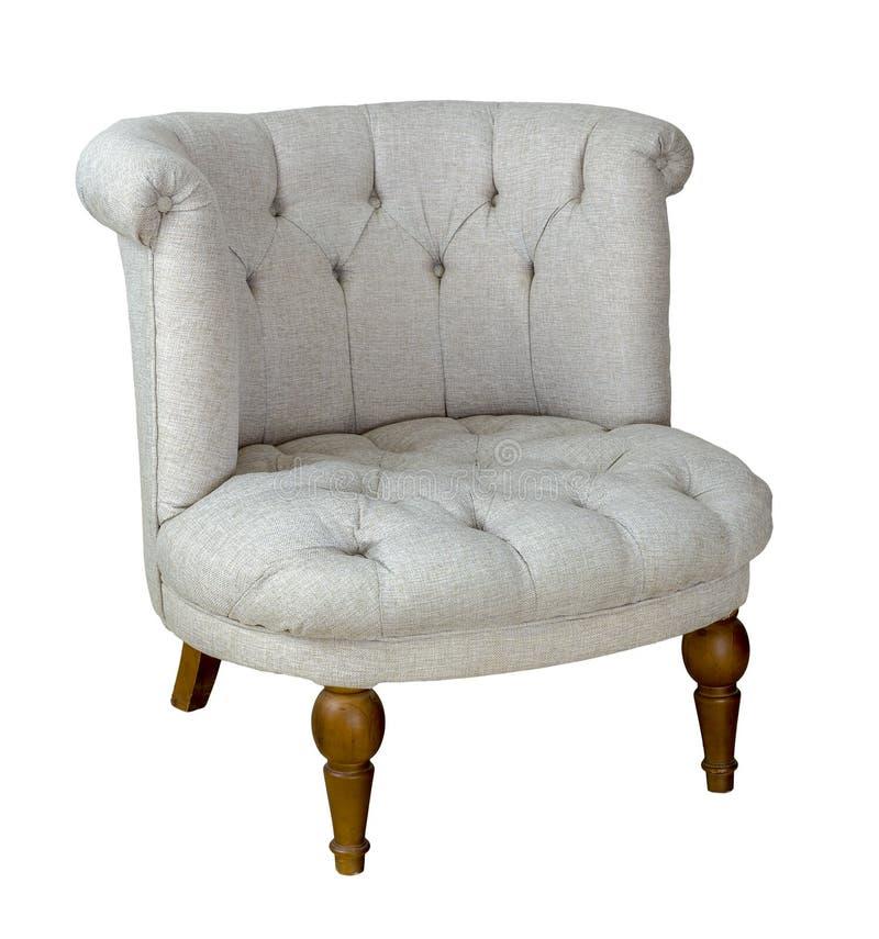 Chaise grise française de baquet avec les jambes en bois d'isolement sur le fond blanc comprenant le chemin de coupure image libre de droits